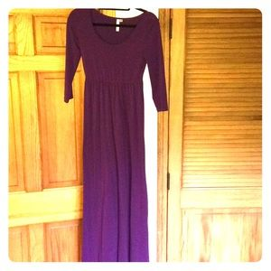 Purple empire waist maxi dress
